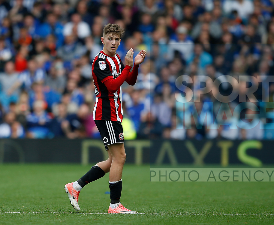 David Brooks of Sheffield Utd applauds the fans as he is substituted during the Championship match at the Hillsborough Stadium, Sheffield. Picture date 24th September 2017. Picture credit should read: Simon Bellis/Sportimage