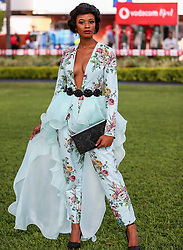 Durban. 070718. Fashion Theme for the 2018 Vodacom Durban July. - It Is Time - Every year a new theme is released to get the creative juices of the visitors and fashion desighners flowing. Picture Leon Lestrade. African News Agency/ANA. Tina Nkangane dressed by Stephen Jacobsz