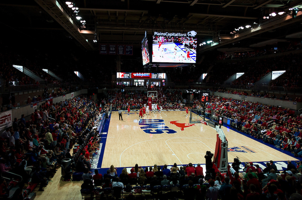 DALLAS, TX - JANUARY 4: A general view of Moody Coliseum during a game between the SMU Mustangs and Connecticut Huskies on January 4, 2014 at Moody Coliseum in Dallas, Texas.  (Photo by Cooper Neill) *** Local Caption ***
