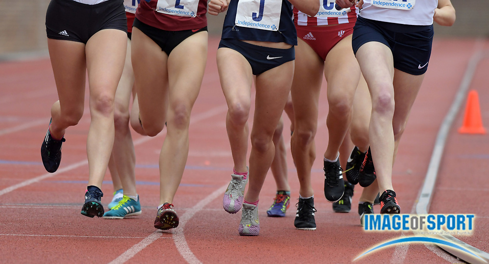 Apr 27, 2018; Philadelphia, PA, USA; Detailed view of track spikes during the Championship of America women's 4 x 1,500m relay at the 124th Penn Relays at Franklin Field.