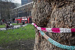London, UK. 13th January, 2018. A tree in Euston Square Gardens is wrapped with a hand-knitted scarf. Activists opposed to the HS2 high-speed rail link have 'yarn-bombed' many of mature London Plane, Red Oak, Common Whitebeam, Common Lime and Wild Service trees in Euston Square Gardens expected to be felled to make way for temporary sites for construction vehicles and a displaced taxi rank as part of preparations for the controversial HS2 project in order to draw attention to their fate.