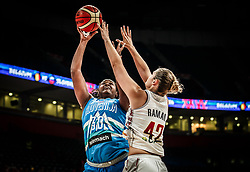 Shante Evans of Slovenia vs Jana Raman of Belgium during basketball match between Women National teams of Belgium and Slovenia in the Qualification for the Quarter-Finals of Women's Eurobasket 2019, on July 2, 2019 in Belgrade Arena, Belgrade, Serbia. Photo by Vid Ponikvar / Sportida