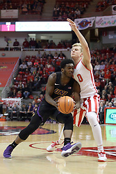 17 February 2018:  Tywhon Pickford pushes past Isaac Gassman during a College mens basketball game between the University of Northern Iowa Panthers and Illinois State Redbirds in Redbird Arena, Normal IL