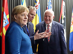 November 1, 2018 - Kyiv, Ukraine - Chancellor of the Federal Republic of Germany Angela Merkel, GIZ Programme Director of U-LEAD Bastian Veigel and German Special Envoy Georg Milbradt (L to R) are pictured at the U-LEAD Decentralisation House, Kyiv, capital of Ukraine, November 1, 2018. Ukrinform. (Credit Image: © Tarasov/Ukrinform via ZUMA Wire)