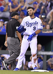 June 19, 2017 - Kansas City, MO, USA - Kansas City Royals' Drew Butera does a hair flip after reaching on a triple in the seventh inning against the Boston Red Sox on Monday, June 19, 2017 at Kauffman Stadium in Kansas City, Mo. (Credit Image: © John Sleezer/TNS via ZUMA Wire)