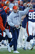 Virginia head coach Al Groh celebrates a 3rd quarter touchdown from the sidelines during the 35-21 Virginia win over the Hokies in Charlottesville, Va. Photo/The Daily Progress/Andrew Shurtleff