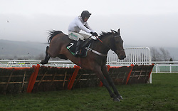 Brain Power ridden by Nico de Boinville on their way to victory in the Unibet International Hurdle during day two of the International Meeting at Cheltenham Racecourse.