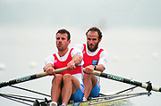Tampere Kaukajaervi,  FINLAND.   Men's pair, FRA M2-. Michel ANDRIEUX , Jean-Christophe ROLLAND, competing at the 1995 World Rowing Championships - Lake Tampere, 08.1995<br /> <br /> [Mandatory Credit; Peter Spurrier/Intersport-images] Re-Edited and file ref No. updated, 16th January 2021.