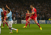 02.10.2013 Manchester, England.  Bayern Munich  Franck Ribery scores making it 1-0  during the Group D UEFA Champions League game between, Manchester City and Bayern Munich from the Etihad Stadium.