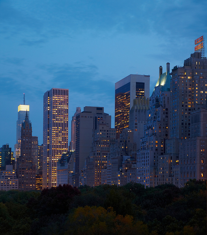 Night view of Central Park and Central Park South from 15 Central Park West, 9th floor