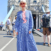 Justine Simons is a Deputy Mayor for Culture celebrates London hosting of UEFA EURO 2020 including both semi finals and the final with thousands of poster laid along Tower Bridge on 13th June 2021, London, UK
