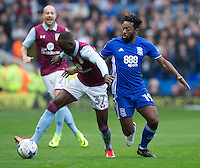 Aston Villa's Albert Adomah battles with Birmingham City's Jacques Maghoma<br /> <br /> Photographer James Williamson/CameraSport<br /> <br /> The EFL Sky Bet Championship - Birmingham City v Aston Villa - Sunday October 30th 2016 - St Andrews - Birmingham<br /> <br /> World Copyright © 2016 CameraSport. All rights reserved. 43 Linden Ave. Countesthorpe. Leicester. England. LE8 5PG - Tel: +44 (0) 116 277 4147 - admin@camerasport.com - www.camerasport.com