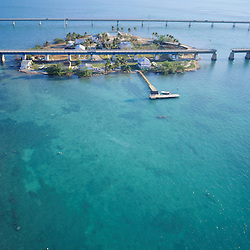 Aerial  views of Seven Mile Bridge over Keys