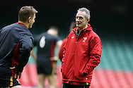 Wales coach Robert Howley speaks to Dan Biggar of Wales . Wales Rugby captains run, ahead of tomorrows RBS Six nations match against England. Principality Stadium, Cardiff, South Wales on Friday 10th Feb 2017.   pic by  Andrew Orchard, Andrew Orchard sports photography.