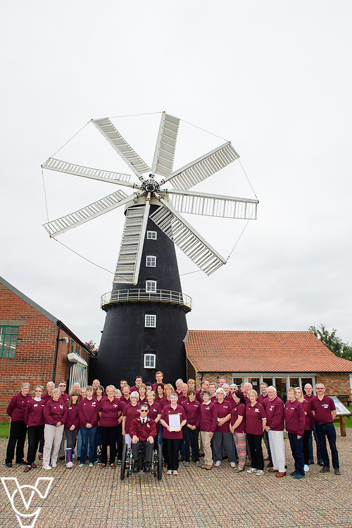 Two volunteer groups from Heckington in Lincolnshire have been awarded the Queen's Award for Voluntary Services.  Volunteers from Heckington Windmill and the Heckington Show have been celebrating receiving the award.  Pictured is the team of volunteers from Heckington Windmill.<br /> <br /> Picture: Chris Vaughan Photography<br /> Date: June 9, 2018