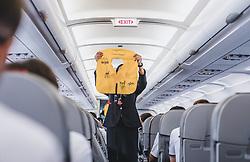 THEMENBILD - eine Stewardess während der Sicherheitseinführung in einem Flugzeug vor dem Start, aufgenommen am 15. August 2018 in Larnaka, Zypern // a flight attendant safety during the introduction in an aircraft before take off, Larnaca, Zyprus on 2018/08/15. EXPA Pictures © 2018, PhotoCredit: EXPA/ JFK