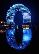HUZHOU, CHINA - NOVEMBER 05: china out - finland out<br /> <br /> Sheraton Seven-Stars Hotel In Nanjing <br /> <br /> Sheraton Huzhou Hot Spring Resort shows stunning display of lighting at Huzhou on November 05, 2013 in Nanjing, Jiangsu Province of China. This light show is for celebrating the fourth session of the Taihu international road cycling race. <br /> ©Exclusivepix