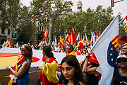 Thousands gather in Barcelona for a Spanish National Day Rally on October 12, 2017 in Barcelona, Spain Christian Mantuano / OneShot