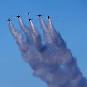 The Air Force Thunderbirds fly over the track during the 60th Annual NASCAR Daytona 500 auto race at Daytona International Speedway on Sunday, February 18, 2018 in Daytona Beach, Florida.  (Alex Menendez via AP)