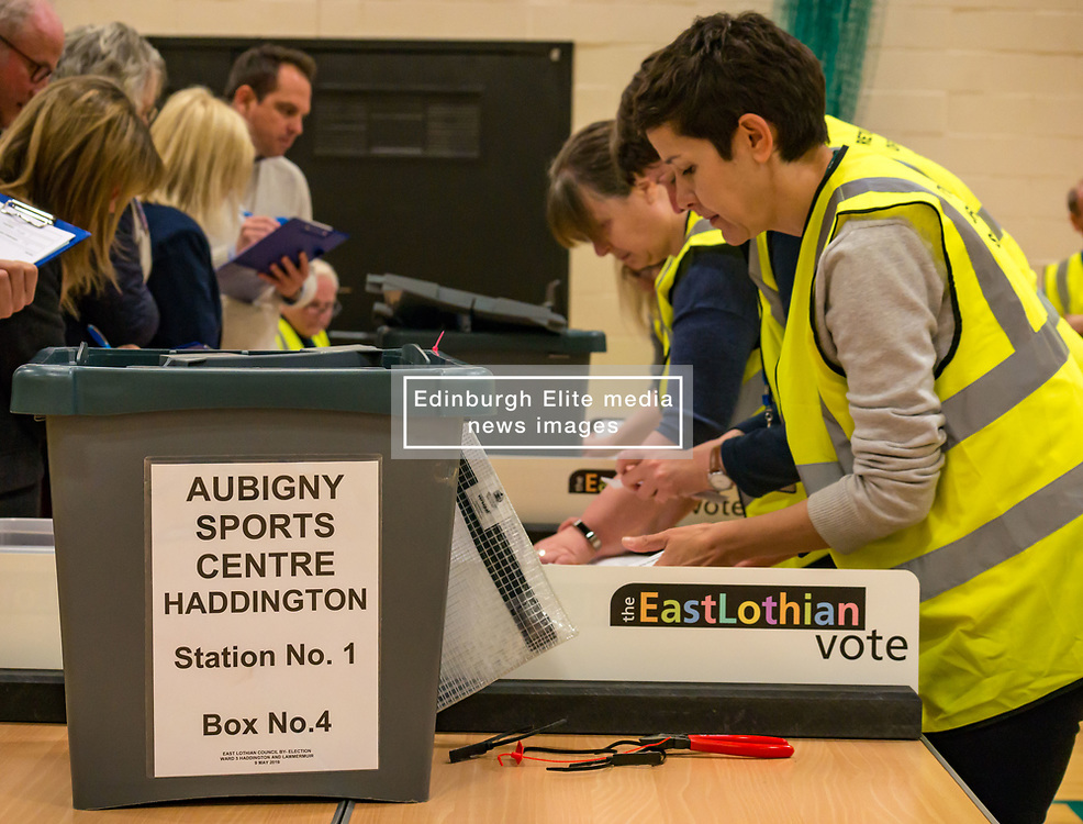 Pictured:  Haddington & Lammermuir by-election count. Haddington, East Lothian, Scotland, United Kingdom, 10 May 2019. The election takes place of one councillor in Ward 5 of East Lothian Council due to the resignation of Councillor Brian Small. The successful candidate represents this ward along with the three existing councillors. The by-election uses the Single Transferable Vote (STV) system in which voters can rank candidates in order of preference and can choose to vote for as many or as few candidates as they like. The election fields 5 candidates from Scottish National Party (SNP), Scottish Labour Party, Scottish Conservatives and Unionist Party, Scottish Liberal Democrats and UK Independence Party (UKIP).<br /> The candidate elected is XX.<br /> Sally Anderson | EdinburghElitemedia.co.uk