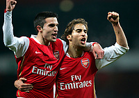 Photo: Tom Dulat/Sportsbeat Images.<br /> <br /> Arsenal v Chelsea. The FA Barclays Premiership. 16/12/2007.<br /> <br /> Arsenal's Robin Van Persie (L) and Mathieu Flamini (R) celebrate winning the game.