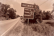 "Highway 225 to Chatsworth, Georgia. One of the roads marked as a path used by Cherokee Indians during the forced relocation known as the ""trail of tears"" from 1836 -1839. Over 4000 Cherokee died on the Trail Of Tears."
