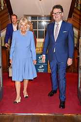 HRH The Duchess of Cornwall and Ewan Venters Chief Executive Officer of Fortnum & Mason at the launch of the Fortnum & Mason Christmas & Other Winter Feasts Cook Book by Tom Parker Bowles held at Fortnum & Mason, 181 Piccadilly, London, England. 17 October 2018.