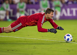 April 21, 2018 - Orlando, FL, U.S. - ORLANDO, FL - APRIL 21: Orlando City goalkeeper Joseph Bendik (1) dives on a loose ball during the MLS soccer match between the Orlando City FC and the San Jose Earthquakes at Orlando City SC on April 21, 2018 at Orlando City Stadium in Orlando, FL. (Photo by Andrew Bershaw/Icon Sportswire) (Credit Image: © Andrew Bershaw/Icon SMI via ZUMA Press)
