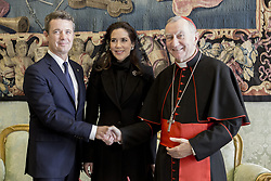 Vatican's secretary of state cardinal Pietro Parolin meets with Frederik, Crown Prince of Denmark and his wife princess Mary during a private audience at the Vatican on November 8, 2018. Photo: ABACAPRESS.COM