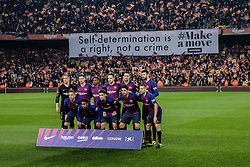 February 6, 2019 - Barcelona, BARCELONA, Spain - FC Barcelona fans claiming for the self-determination of Catalonia during the semi-final first leg of Spanish King Cup / Copa del Rey football match between FC Barcelona and Real Madrid on 04 of February of 2019 at Camp Nou stadium in Barcelona, Spain (Credit Image: © AFP7 via ZUMA Wire)