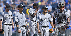 July 23, 2017 - Kansas City, MO, USA - Chicago White Sox relief pitcher Gregory Infante waits to be relieved in the ninth against the Kansas City Royals on Sunday, July 23, 2017 at Kauffman Stadium in Kansas City, Mo. (Credit Image: © John Sleezer/TNS via ZUMA Wire)