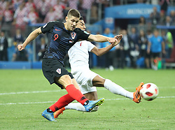 MOSCOW, July 11, 2018  Andrej Kramaric (L) of Croatia shoots during the 2018 FIFA World Cup semi-final match between England and Croatia in Moscow, Russia, July 11, 2018. Croatia won 2-1 and advanced to the final. (Credit Image: © Wu Zhuang/Xinhua via ZUMA Wire)