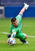 May 16, 2021 - Kansas City, KS, United States:  Vancouver Whitecaps goalkeeper Maxime Crepeau (16) dives for but cannot stop a shot on goal by Sporting Kansas City forward Alan Pulido in the second half.  Sporting KC beat the Vancouver Whitecaps FC 3-0 in a Major League Soccer game. <br /> Photo by Tim Vizer/Polaris