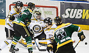 Victoria Grizzlies goaltender Mathew Galajda makes a save versus Powell River at the Q Centre in  Colwood, British Columbia Canada on March 27, 2017.