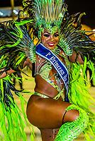 Carnaval princess dancing the samba, Sambadrome, Rio de Janeiro, Brazil.