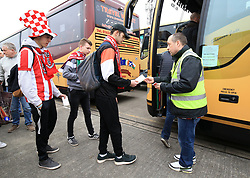 Lincoln City fans depart from Sincil Bank in Lincoln for the Emirates FA Cup match with Arsenal.