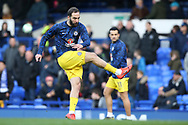 Chelsea forward Gonzalo Higuain (9)warming up during the Premier League match between Everton and Chelsea at Goodison Park, Liverpool, England on 17 March 2019.