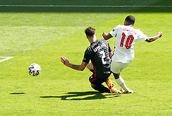 England's Raheem Sterling (right) scores their side's first goal of the game during the UEFA Euro 2020 Group D match at Wembley Stadium, London. Picture date: Sunday June 13, 2021.