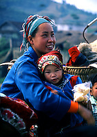 An ethnic minority mother and baby at a market in Northern Vietnam.