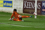 Debut for Ben Wilson (Goalkeeper) of AFC Wimbledon goes wrong as Billy Kee scores within 10 minutes during the Sky Bet League 2 match between Accrington Stanley and AFC Wimbledon at the Fraser Eagle Stadium, Accrington, England on 20 October 2015. Photo by Stuart Butcher.