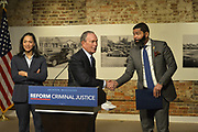 "12/3/19 Jackson, MS. Democratic Presidential candidate and former New York City Mayor Michael Bloomberg visits with Mayor Chokwe Antar Lumumba at the Smith Robertson Museum. Bloomberg and the Mayor of Jackson where their to have a discussion on criminal justice reform with community leaders. Bloomberg spoke with the press after his meeting with community leaders and said he made a mistake with ""stop and frisk"" policy in New York City and has learned from his mistakes. Today at the community meeting Presidential candidate Michael Bloomberg unveiled three criminal justice reform policy proposals. The proposals focus on reducing the United States incarceration rates, which are the highest in the world and addressing the failings of the criminal justice system that disproportionately harms communities of color. Bloomberg will introduce his plan for comprehensive criminal justice reform in the coming weeks. Photo ©Suzi Altman"
