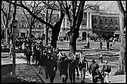 Madison, WI - March 1970. On March 15, 1970, the University of Wisconsin - Madison Teaching Assistants' Association voted to strike, and the campus was filled with picket lines as well as demonstrations of related and other issues. The strike lasted until early April, when the Association and University came to an agreement. Protesters walk down Bascom Hill.