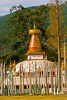 Chorten surrounded by prayer flags, Khuruthang, Punakha Valley, Bhutan