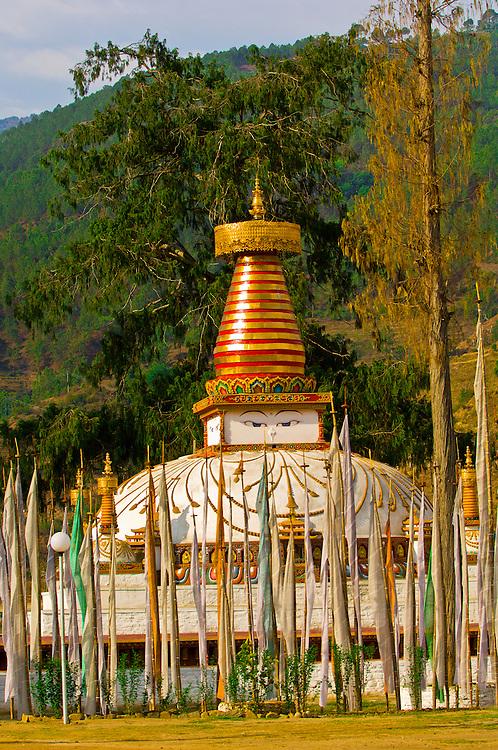 Chorten surrounded by prayer flags, Khuruthang, Punakha Valley, Bhutan