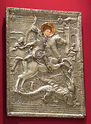 St George, by the goldsmith Georgakis, 1800. According to the Greek and Karamanli inscription, the silver icon was dedicated to the church of St Nicolas in Caesarea.