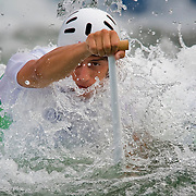 Christos Tsakmakis of Greece paddled down the whitewater slalom course during heat 2 of the men's canoe single (C1), at the Shunyi Olympic Rowing-Canoeing Park on Monday, August 11, 2008, during the 2008 Summer Olympic Games in Beijing, China. (photo by David Eulitt/MCT).