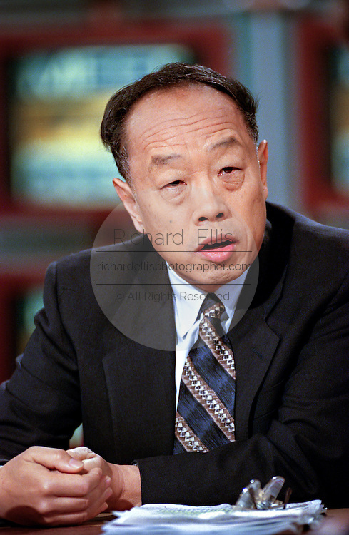 Chinese Ambassador to the U.S Li Zhaoxing discusses the bombing of the Chinese Embassy in Belgrade by NATO during NBC's Meet the Press May 16, 1999 in Washington, DC.