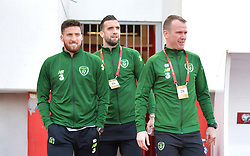 Republic of Ireland's Matthew Doherty, Shane Duffy and Glenn Whelan on the pitch prior to the UEFA Euro 2020 Qualifying, Group D match at the Victoria Stadium, Gibraltar.