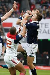 France's Scott Spedding battles Scotland's Huw Jones during Rugby RBS 6 Nations Tournament, France vs Scotland in Stade de France, St-Denis, France, on February 12th, 2017. France won 22-16. Photo by Henri Szwarc/ABACAPRESS.COM