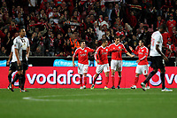 20111029: LISBON, PORTUGAL - SL Benfica vs Olhanense: Portuguese League 2011/2012. <br /> In photo: Benfica players celebrating Benfica Frist goal.<br /> PHOTO: Carlos Rodrigues/CITYFILES